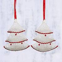 Cotton ornaments, 'Twin Christmas Trees' (pair) - Two Handcrafted Cotton Christmas Tree Ornaments from India