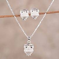 Cubic zirconia jewelry set, 'Friendly Owls' - Sterling Silver and Cubic Zirconia Owl Jewelry Set