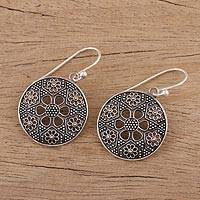 Sterling silver dangle earrings, 'Floral Enigma' - Sterling Silver Floral Dangle Earrings from India