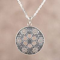 Sterling silver pendant necklace, 'Floral Enigma' - Sterling Silver Floral Pendant Necklace from India