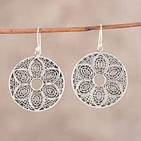 Sterling silver dangle earrings, 'Floral Flair' - Sterling Silver Floral Dangle Earrings from India