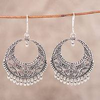 Sterling silver dangle earrings, 'Garden of Delhi' - Sterling Silver Floral Dangle Earrings from India
