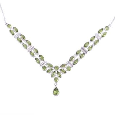 Peridot pendant necklace, 'Evening in Delhi' - Peridot Pendant Necklace with 17 Carats of Gemstones