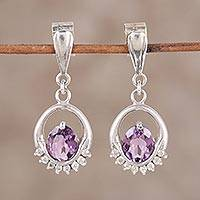 Rhodium plated amethyst and cubic zirconia dangle earrings, 'Royal Brilliance' - Rhodium Plated Dangle Earrings with Amethysts
