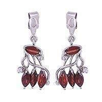 Rhodium plated garnet dangle earrings, 'Romantic Rendezvous' - Garnet Earrings in Rhodium Plated Sterling Silver with CZ