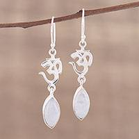Rainbow moonstone dangle earrings, 'Natural Om' - Rainbow Moonstone and Silver Om Dangle Earrings from India