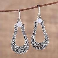 Rainbow moonstone dangle earrings, 'Silver Moondrop'