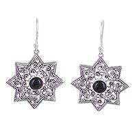 Onyx dangle earrings, 'Mughal Stars' - Star-Shaped Earrings with Onyx and Sterling Silver