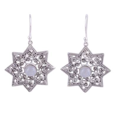 Indian Rainbow Moonstone Dangle Earrings in Star Shapes