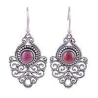 Garnet dangle earrings, 'Shalimar Fountain' - Ornate Sterling Silver and Garnet Dangle Earrings