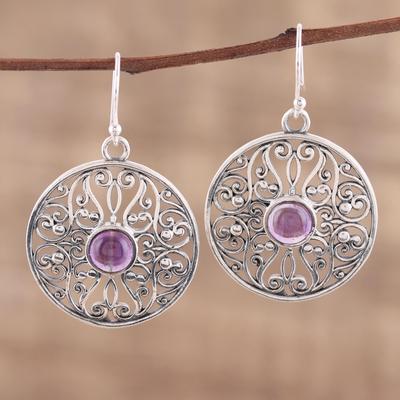 Novica Amethyst dangle earrings, Shalimar Gardens