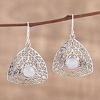 Rainbow moonstone dangle earrings, 'Jali Frieze' - Rainbow Moonstone and Sterling Silver Dangle Earrings