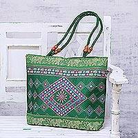 Embroidered shoulder bag, 'Diamond Allure in Emerald' - Diamond Motif Embroidered Shoulder Bag in Emerald from India