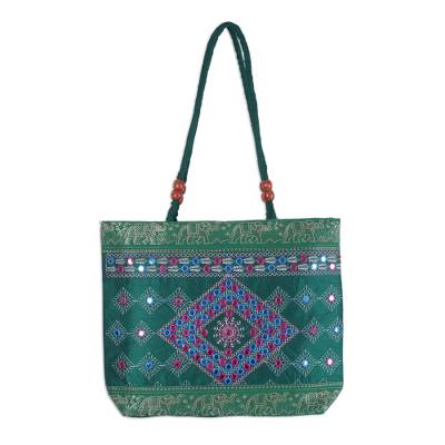 Novica Shoulder bag, Diamond Allure in Emerald