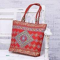 Embroidered shoulder bag, 'Diamond Allure in Crimson' - Diamond Motif Embroidered Shoulder Bag in Crimson from India