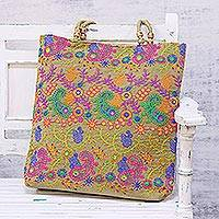 Shoulder bag, 'Paisley Field' - Floral and Paisley Motif Embroidered Shoulder Bag from India
