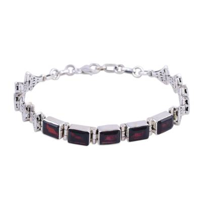 Handmade Garnet and Sterling Silver Link Bracelet from India