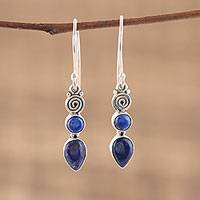 Lapis lazuli dangle earrings, 'Spiral Desire' - Spiral Motif Lapis Lazuli Dangle Earrings from India