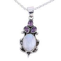 Amethyst and rainbow moonstone pendant necklace, 'Desirous Elegance' - Amethyst and Rainbow Moonstone Pendant Necklace from India