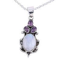 Amethyst and rainbow moonstone pendant necklace,
