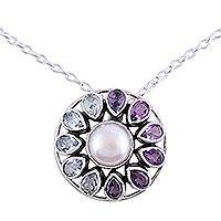 Multi-gemstone pendant necklace, 'Charming Wheel' - Circular Multi-Gemstone Pendant Necklace from India