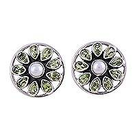Peridot and cultured pearl button earrings, 'Glittering Stars' - Star-Shaped Peridot and Pearl Button Earrings from India
