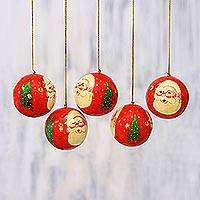 Papier mache ornaments, 'Laughing Santa Claus' (set of 5) - Five Handcrafted Santa Claus Papier Mache Ornaments