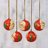 Papier mache ornaments, 'Laughing Santa Claus' (set of 5) - 5 Santa Claus Ornaments Handcrafted in Papier Mache