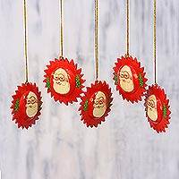 Papier mache ornaments, 'Red Santa Halo' (set of 5) - Handcrafted Claus Papier Mache Ornaments (Set of 5)
