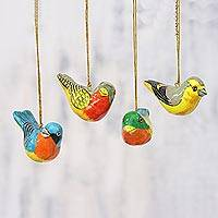 Papier mache ornaments, 'Chirping Sparrows' (set of 4) - Four Colorful Papier Mache Bird Ornaments from India