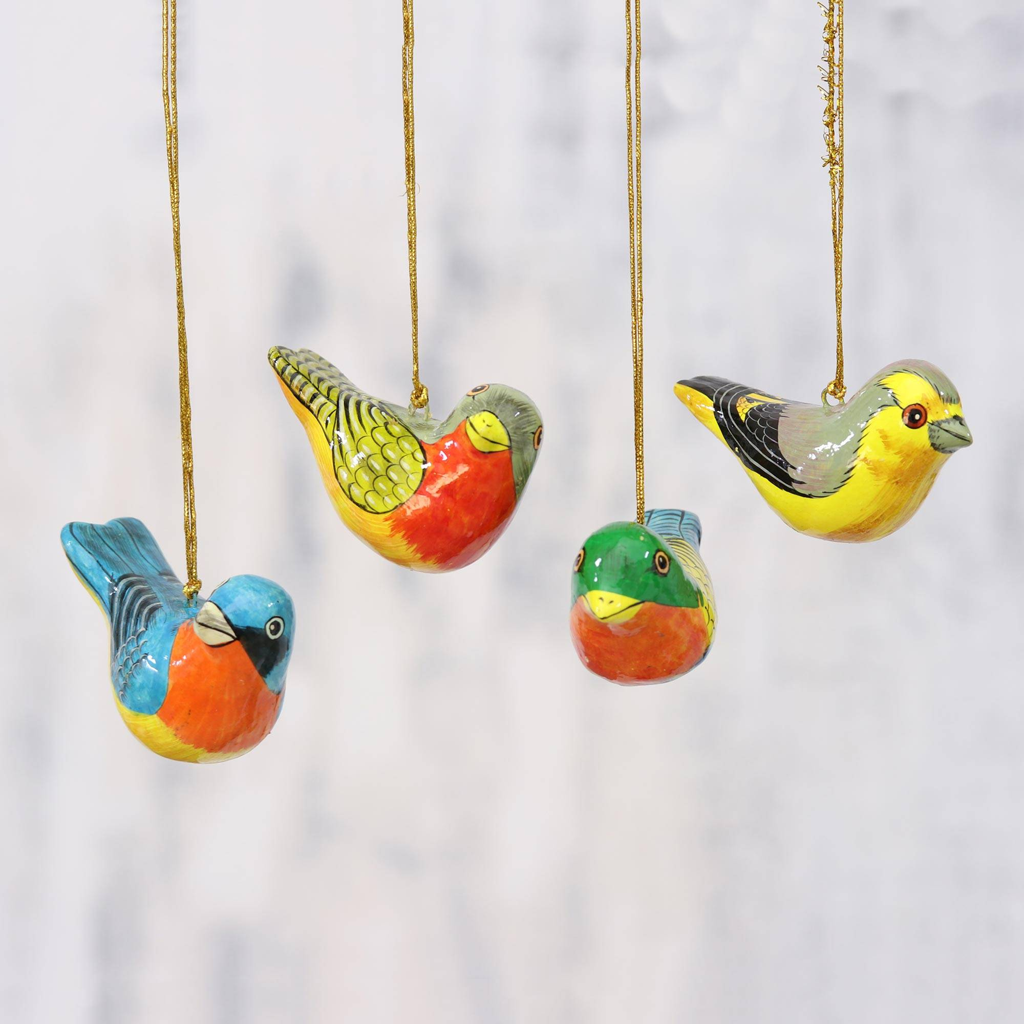 Four Colorful Papier Mache Bird Ornaments from India, 'Chirping Sparrows'