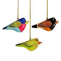 Papier mache ornaments, 'Cuckoo Birds' (set of 3) - Three Hand-Painted Papier Mache Bird Ornaments from India
