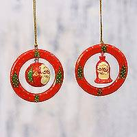 Papier mache ornaments, 'Christmas Rings' (pair) - Papier Mache Christmas Ornaments (Pair) from India