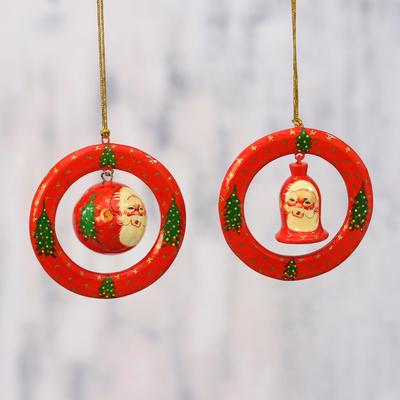 Paper Mache Christmas Ornament.Papier Mache Christmas Ornaments Pair From India Christmas Rings