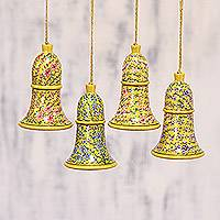 Papier mache ornaments, 'Floral Chimes' (set of 4) - Papier Mache Floral Bell Ornaments (Set of 4) from India