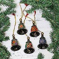 Papier mache ornaments, 'Bells of Kashmir' (set of 5) - Papier Mache Bell Ornaments (Set of 5) from India