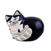 Papier mache decorative box, 'Majestic Cat' - Hand-Painted Papier Mache Cat Decorative Box from India