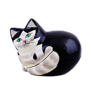 Papier mache decorative box, Majestic Cat