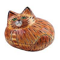 Papier mache decorative box, 'Comfy Cat' - Brown Papier Mache Cat Decorative Box from India