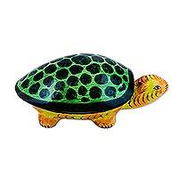 Papier mache decorative box, 'Joyful Turtle' - Papier Mache Turtle Decorative Box from India