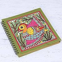 Handmade paper photo album, 'Cheerful Bird' - Bird-Themed Madhubani Paper Photo Album from India