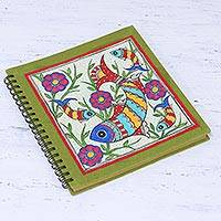 Handmade paper photo album, 'Aquatic Memories' - Fish-Themed Madhubani Paper Photo Album from India