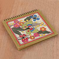 Handmade paper photo album, 'Butterfly Muse' - Butterfly-Themed Madhubani Paper Photo Album from India