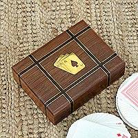 Wood playing card holder, 'Double Delight' - Indian Acacia Wood Card Holder with Two Card Decks