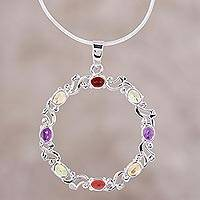 Rhodium plated multi-gemstone pendant necklace, 'Wreath of Colors' - Rhodium Plated Multi-Gem Necklace from India