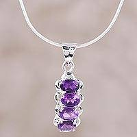 Rhodium plated amethyst pendant necklace, 'Ardent Drops' - Rhodium Plated Amethyst Pendant Necklace from India