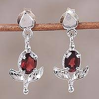Rhodium plated garnet dangle earrings, 'Regal Scarlet' - Rhodium Plated Garnet Dangle Earrings from India