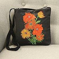 Cotton blend sling, 'Vibrant Blossom' - Embroidered Floral Sling Handbag from India