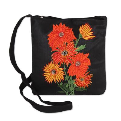 Cotton blend sling, 'Vibrant Blossom' - Embroidered Floral Sling Handbag from India