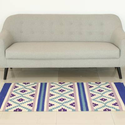 Cotton area rug, 'Cool Grace' (3x5) - Traditional Hand Woven Cotton Rug from India (3x5)